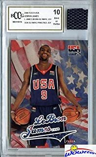 2003/4 Fleer USA Lebron James Lebron James ROOKIE with Piece of Authentic Lebron James Worn Olympic Jersey Graded BGS Beckett 10 MINT GGUM Card