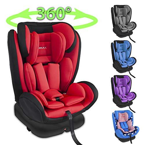 XOMAX XM-KI360 Seggiolino per bambini con 360° funzione di rotazione e ISOFIX I 0-36 kg, 0-12 anni, gruppo 0/1/2/3 I Cintura a 5 punti e 3 punti I Rivestimento sfoderabile e lavabile I ECE R44/04