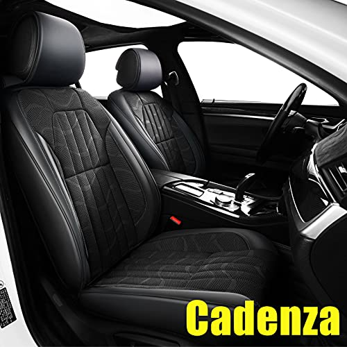 AOMSAZTO Custom Fit for Kia 2014 2015 2016 2017 2018 2019 2020 Cadenza Faux Leather Car Seat Covers Full Set Compatible Airbag Cadenza Seat Protector Comfortable and Breathable Black