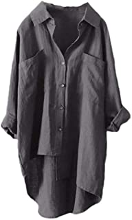 Frieed Women Long Sleeve Tops Plus Size Loose Linen Shirts Blouse with Pockets