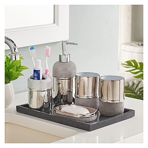 Dosificador Jabón Conjunto de accesorios de baño - Conjunto de baño de 6 piezas de lujo con chapado en oro con dispensador de jabón con soporte de cepillo de dientes de cepillo de cepillo de vaso y pl