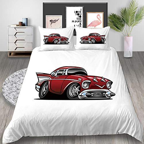 Fadaseo Bettwäsche-Set für Kinderbett, 3D-Druck, Retro, Auto, Sportwagen, 3-teiliges Bettwäsche-Set, pflegeleicht und superweiches Baumwolldesign, mit 2 Kissenbezügen, hypoallergen, Größe 200 x 200 cm