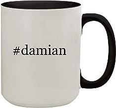 #damian - 15oz Hashtag Colored Inner & Handle Ceramic Coffee Mug, Black