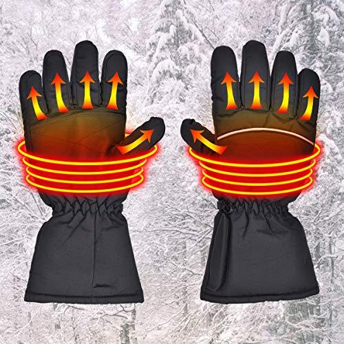 Queta Beheizte Handschuhe Unisex Beheizbare Handschuhe Damen Herren Winterhandschuhe für Skifahren,Jagen,Angeln,Reiten,Radfahren,Camping, Wandern Batterie Angetrieben