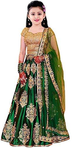 F Plus Fashion Girl's Silk Semi stitched Lehenga Choli (FP_K_P_Orange001_Green_7-8 Years)