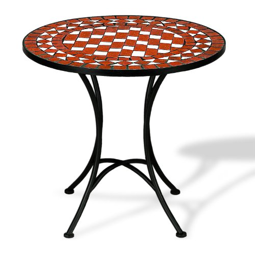 Wrought iron side table with mosaic - red and white