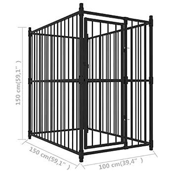 vidaXL Chenil Extérieur avec Toit 150x100x175 cm Enclos Niche Cage Chiens
