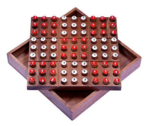 LOGOPLAY Sudoku - Steckspiel - Denkspiel - Knobelspiel - Geduldspiel - Logikspiel - Brettspiel aus Holz mit Zahlen-Steckern
