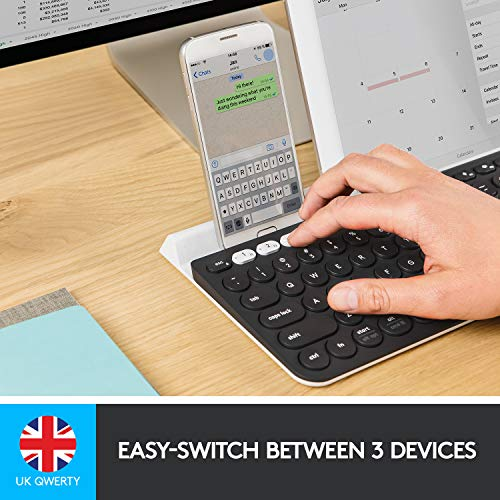 Logitech K780 Tastiera Wireless 2.4 GHz e Bluetooth Multidispositivo per Windows, Apple, Android o Chrome, PC/Mac/Laptop/Smartphone/Tablet, Layout Inglese QWERTY, Grigio Scuro/Bianco