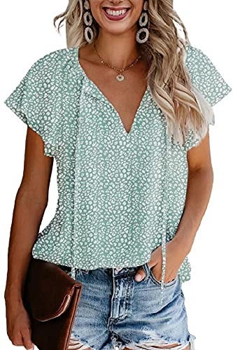 CERYIWER Women's Short Sleeve Casual Shirts Boho Floral Print V Neck Chiffon Tops Loose Blouses (Green, S)