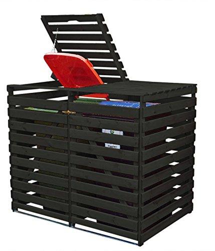 Mülltonnenbox Holz V für zwei 240 Liter Tonnen, Farbe: Anthrazit