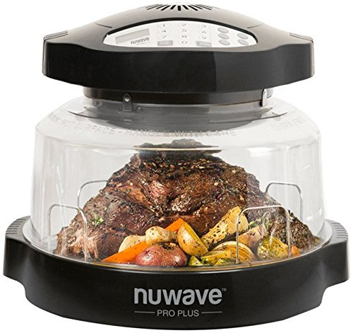 NuWave Pro Plus Oven (Black) with Infrared, Convection, and Conduction; 100F-350F; Fits 10 lb turkey; 12 in pizza; Air-fry, Broil, Bake, Roast, Toast; Dehydrate, Warm