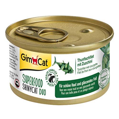GimCat Superfood ShinyCat Duo Thunfisch mit Zucchini - Katzenfutter mit saftigem Filet ohne Zuckerzusatz für ausgewachsene Katzen - 24 Dosen (24 x 70 g)