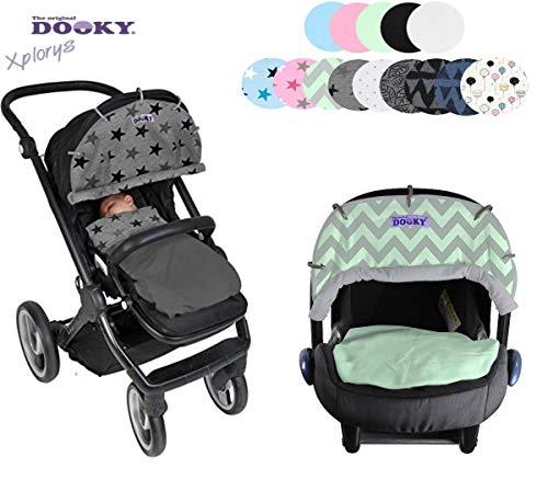 Originele DOOKY ** Style UV+ 40 ** Universele zonwering / zonnescherm voor kinderwagens en babyschaal crèmewit.