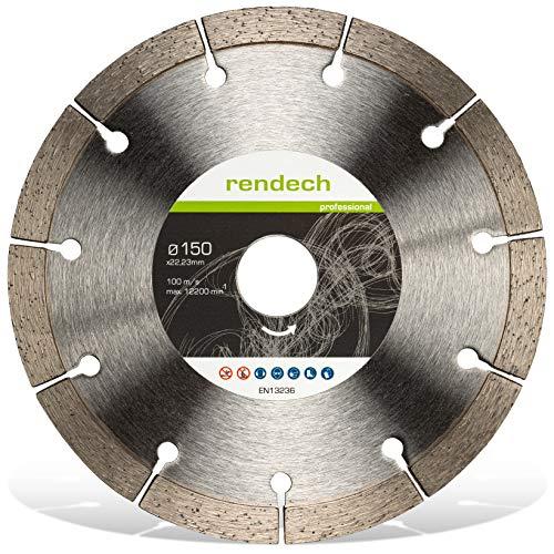 1x Rendech® Diamantscheibe 150mm für Mauerwerk, Beton, Stein, Ziegel uvm. Diamant-Trennscheibe geeignet für Mauernutfräse
