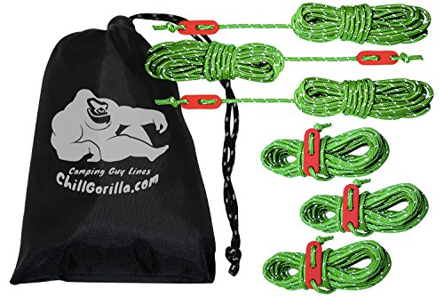 Chill Gorilla 6 Pack 4mm Reflective Tent Guide Rope Guy Line Cord & Adjusters. Lightweight for Rain...