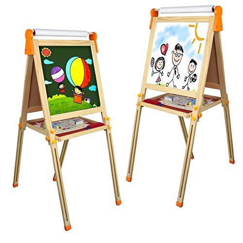 Tableau Enfant Magnetique Jouet Bois- 3 en 1 Multifonctions Double Face Tableau Noir et Blanc avec Papier en Rouleau et Accessoires Jouet Educatif pour Enfants 3 4 5 Ans Garçon Fille