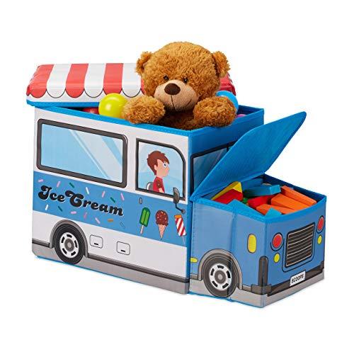 Relaxdays Baúl para Juguetes, Taburete Infantil Plegable, Caja con Compartimento, Unisex, Carrito...