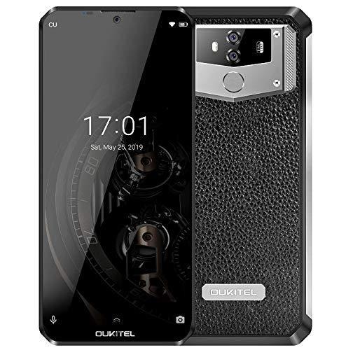 """(2019) OUKITEL K12 Android 9.0 Smartphone Libre con batería masiva de 10000 mAh, Dual SIM, Pantalla Waterdrop FHD+ de 6.3"""", Helio P35 Octa-Core 6GB + 64GB, Carga rápida, diseño Cuero + Metal, NFC"""