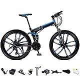 XHLLX 24-Zoll-MTB Fahrrad, Unisex Folding Pendler Fahrrad, 24-Gang-Getriebe Faltbare Mountainbike, Off-Road Variable Speed Bikes Für Männer Und Frauen, Doppelscheibenbremse/A-Rad,B