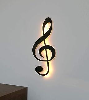 kh Teile kh Teile Musik Note Notenschlüssel Dekoration Holz Wanddeko Wandschmuck, mit Led Licht, 60 cm, Wandbild schwarz