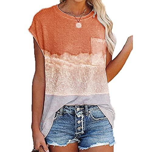 Camiseta con Bolsillo De Manga Corta con Hombros CaíDos Y Cuello Redondo Estampada Informal De Verano para Mujer