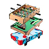 FZYE Futbolín de Mesa de 20 '', futbolín de Madera, minipiscina de Mesa para Equipos de Apartamentos compartidos, Juegos de Mesa Arcade (Color: 3 en 1)