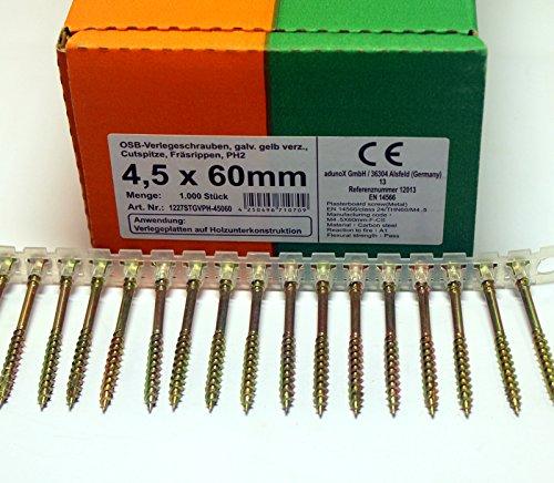 1000 Stück magazinierte OSB Verlegeschrauben 4,5 x 60 mm Gurtschrauben gelb verzinkt PH2 Magazinschrauben