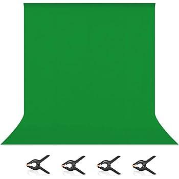 UTEBIT グリーンバック 2 x 3m クロマキー グリーン 撮影用 バックペーパー 緑 背景布 6.56 x 9.84ft ポリエステル 単色 みどり 布 無反射 洗濯可 バックスクリーン 200 x 300 cm 袋縫いタイプ 折り畳み 無地 緑 暗幕 写真スタジオ 全身撮影 バックグラウンド