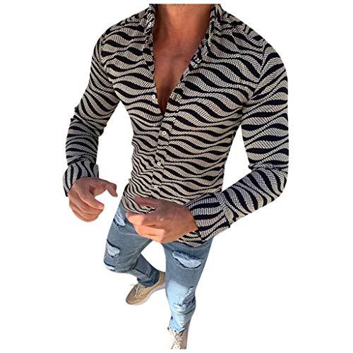 ODRD Herren Streifen Langärmliges Freizeithemd, Langärmliges Hemd mit Revers aus Bambusbaumwolle und Leinen, Herrenmode Kreative Slim Fit Abstrakt Bedrucktes Hemd Langarm Freizeithemd Shirt [M~3XL]