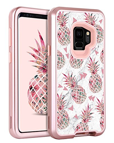 Galaxy S9 Case Samsung S9 Case Pineapple for Girls Women, GUAGUA Marble Glossy Cover Hybrid Three Layer Hard PC Soft TPU Shockproof Protective Phone Case for Samsung Galaxy S9(2018) Rose Gold