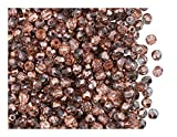 100 Pcs Czech Fire-Polished Faceted Glass Beads Round 3mm Crystal Capry Gold