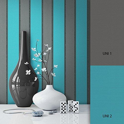 NEWROOM Tapete grau Vliestapete schwarz silber Classic,klassisch schöne moderne und edle Design Optik , inklusive Tapezier Ratgeber