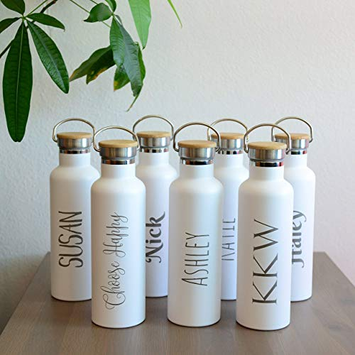Personalized Insulated Water Bottle 25oz (750ml) Premium Quality Stainless Steel Double Wall Vacuum Elemental Bottle BEST for Birthday Gift, Holiday Gift, Valentine Gift - 20 designs to choose from