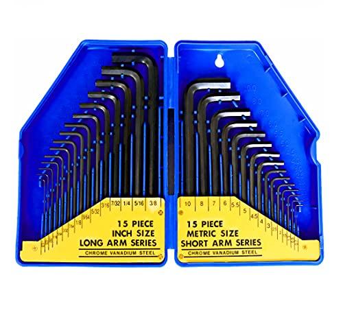 S&R Juego de 30 llaves Allen hexagonales en Pulgadas y millimetros. Llaves largas y pequeñas para Coche, Moto, Bicicleta