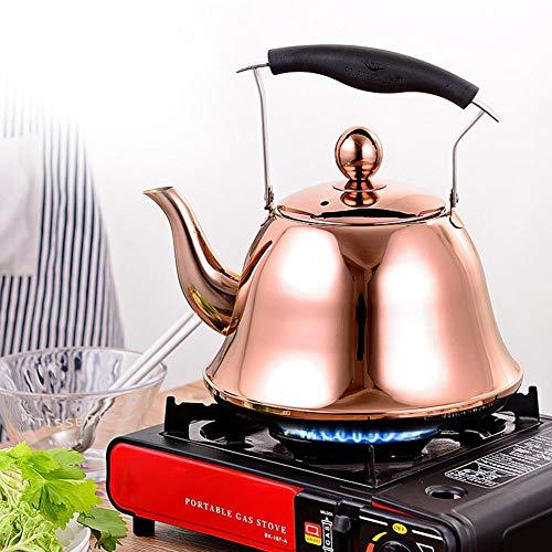 ZYJANO 2L-Premium Fluitende Theeketel, Roestvrij Staal Gas Elektrische Inductie Waterkoker Fluitje Theepotje, Buiten Water en Camping Theepot - Roségoud