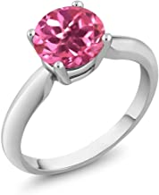 Gem Stone King Sterling Silver Pink Mystic Topaz Women's Solitaire Ring 1.55 cttw, Round 7mm (Available 5,6,7,8,9)