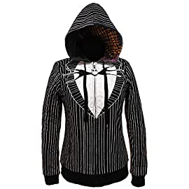 The Nightmare Before Christmas Juniors Jack & Sally Reversible Hoodie 1 Officially Licensed The Nightmare Before Christmas Product Reversible Hoodie; Sally dress on One Side and Jack Skellington's Suit on the Other Rubberized Zipper Pull Has a Jack and Sally's Face on their Respective Side