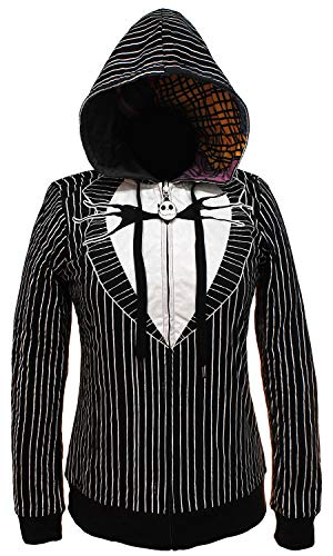 Mad Engine The Nightmare Before Christmas Juniors Jack & Sally Reversible Hoodie (XS)