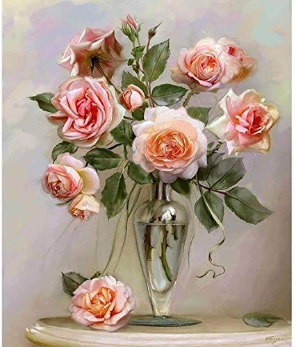 DIY Oil Paint Painting By Numbers Champagne Rose Christmas, Thanksgiving, Halloween gifts-40x50cm-With Frame