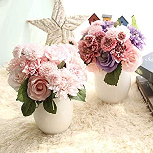 Homyu 8 Pcs Dahlia Fake Flowers Artificial Dahlia Rose Flowers Faux Flowers for Home Wedding Party Office Supplies (Champagne Pink)