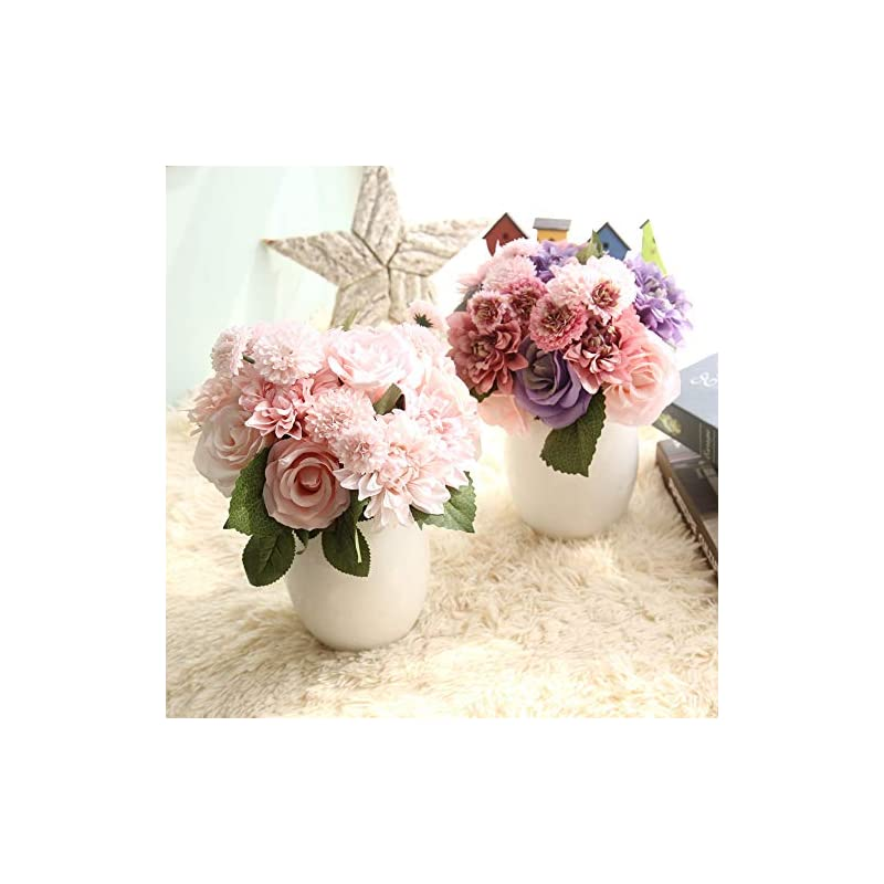 silk flower arrangements homyu 8 pcs dahlia fake flowers artificial dahlia rose flowers faux flowers for home wedding party office supplies (champagne pink)