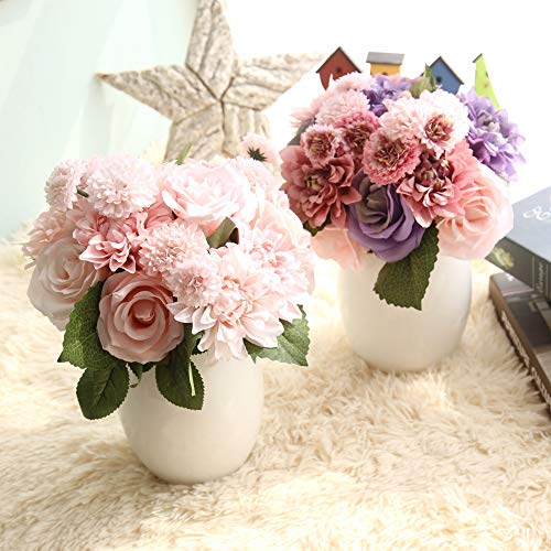 Homyu 8 Pcs Dahlia Fake Flowers Artificial Dahlia Rose Flowers Faux Flowers for Home Wedding Party Office Supplies (Purple Pink)