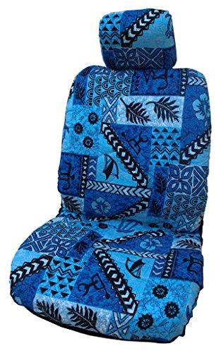 Gemaakt in Hawaii; Hawaiian Originele Tapa Ontwerp in Blauw Afzonderlijke Hoofdsteun Auto Stoelhoezen door Winnie Fashion