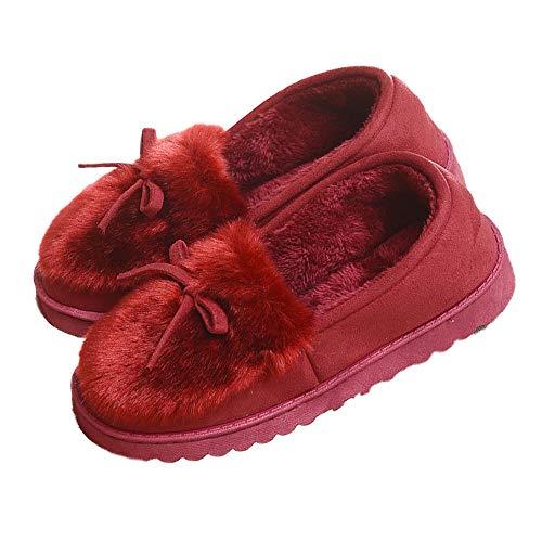 Sisttke Damen Winter Plüsch Hausschuhe Komfort Warme Home rutschfeste Pantoffeln Weiche Fellschuhe Slippers