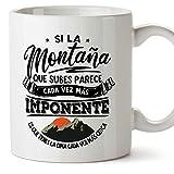 MUGFFINS Taza motivacional'Si la montaña que subes tienes la cima cada vez más cerca.' - Regalos para Animar y Motivar en...