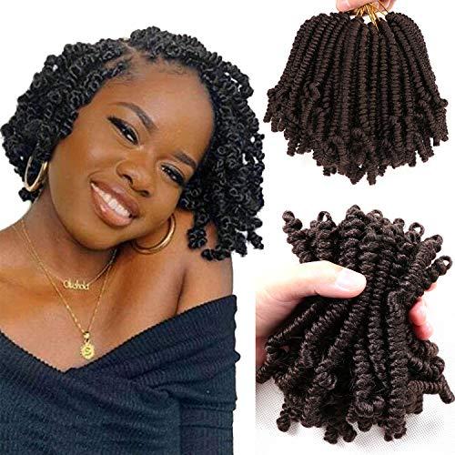 8 Packs Short Pretwisted Spring Twist Crochet Hair 6 Inch Pretwisted Passion Twist Crochet Hair Curly Pre Looped Crochet Braids Hair Bomb Twist Kids Crochet Hair for Black Women (6 Inch, 4#)