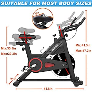 GEONEO Magnetic Exercise Bikes Belt Drive Indoor Cycling Bike Stationary - Spin Bike with 35 LB Chromed Flywheel, Silent Belt Drive, LCD Monitor,Ipad Mount & Comfortable Seat Cushion for Home Workout