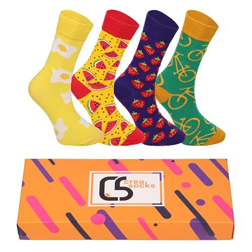 CREA SOCKS Lustige Socken für Herren, Neuheit, Funky, schrullig, Bunte Silly Socken für Geschenke, Baumwolle, Geschenke für Männer, Wassermelonen Socken, Fahrrad Socken EU 41-46
