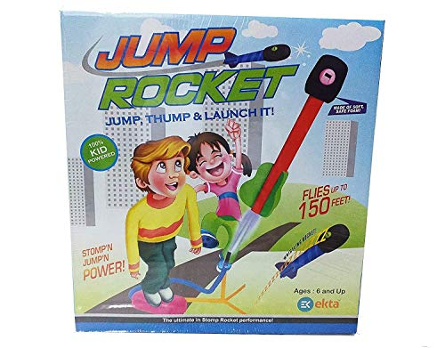 EKTA Jump Rocket Stomp Launcher and 3 Foam Tipped Rockets with Whistling Sound Outdoor Toy for Kids (Flies Upto 150ft, Non- Toxic, No Battery, Age 5+ Years), Multicolour